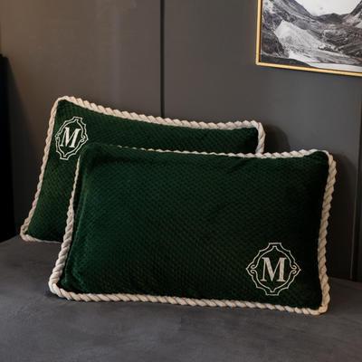2020新款贝贝绒+毛毛绒单枕套 48*74cm/对 贝贝绒-墨绿