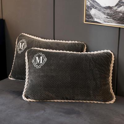 2020新款贝贝绒+毛毛绒单枕套 48*74cm/对 贝贝绒-深灰