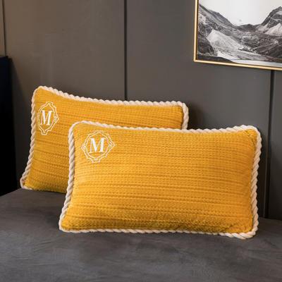 2020新款贝贝绒+毛毛绒单枕套 48*74cm/对 毛毛绒-芥末黄