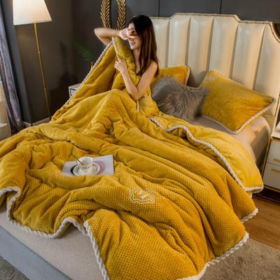 2020新款贝贝绒法莱绒金貂绒牛奶绒单毛毯 150cmx200xm 贝贝绒-芥末黄