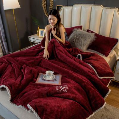 2020新款贝贝绒法莱绒金貂绒牛奶绒单毛毯 150cmx200xm 贝贝绒-酒红