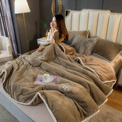 2020新款贝贝绒法莱绒金貂绒牛奶绒单毛毯 150cmx200xm 贝贝绒-卡其驼