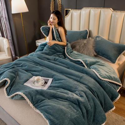 2020新款贝贝绒法莱绒金貂绒牛奶绒单毛毯 150cmx200xm 贝贝绒-孔雀蓝