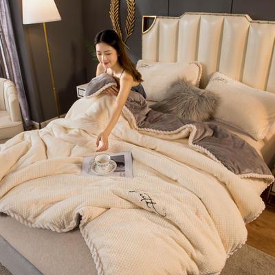 2020新款贝贝绒法莱绒金貂绒牛奶绒单毛毯 150cmx200xm 贝贝绒-米白