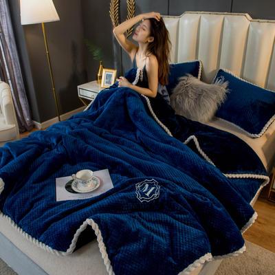 2020新款贝贝绒法莱绒金貂绒牛奶绒单毛毯 150cmx200xm 贝贝绒-深蓝