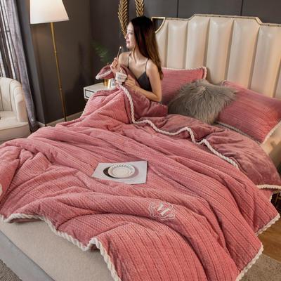 2020新款毛毛绒法莱绒金貂绒牛奶绒单毛毯盖毯 150*200cm 毛毛绒-豆沙