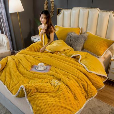 2020新款毛毛绒法莱绒金貂绒牛奶绒单毛毯盖毯 150*200cm 毛毛绒-芥末黄