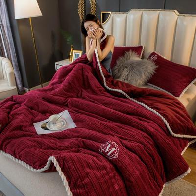 2020新款毛毛绒法莱绒金貂绒牛奶绒单毛毯盖毯 150*200cm 毛毛绒-酒红