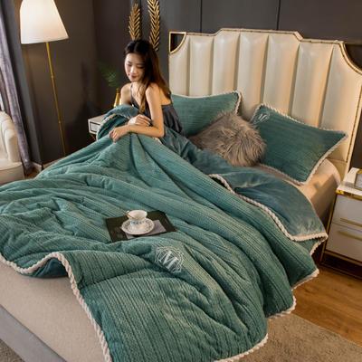 2020新款毛毛绒法莱绒金貂绒牛奶绒单毛毯盖毯 150*200cm 毛毛绒-孔雀蓝