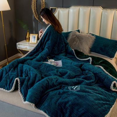 2020新款毛毛绒法莱绒金貂绒牛奶绒单毛毯盖毯 150*200cm 毛毛绒-墨绿