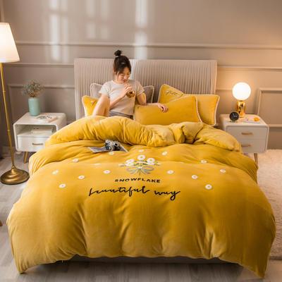 2020新款牛奶绒金貂绒法莱绒毛巾绣单被套 180x220cm 毛巾绣-芥末黄