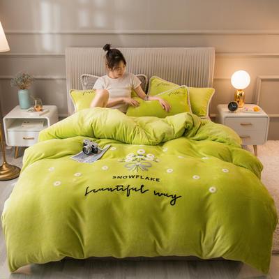 2020新款牛奶绒金貂绒法莱绒毛巾绣单被套 180x220cm 毛巾绣-苹果绿