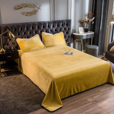 2020新款加厚牛奶绒法莱绒金貂绒韩式包边单床单 180cmx230cm 床单-芥末黄