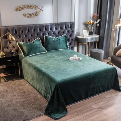 2020新款加厚牛奶绒法莱绒金貂绒韩式包边单床单 180cmx230cm 床单-墨绿