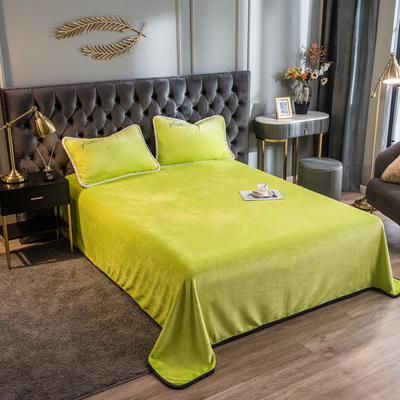 2020新款加厚牛奶绒法莱绒金貂绒韩式包边单床单 180cmx230cm 床单-苹果绿