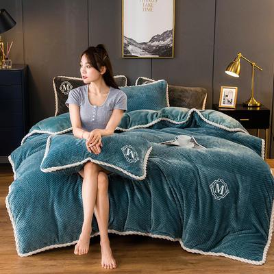 2020新款AB版贝贝绒+牛奶绒四件套 1.2m床单款三件套 孔雀蓝
