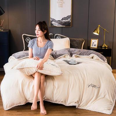 2020新款AB版贝贝绒+牛奶绒四件套 1.2m床单款三件套 米白