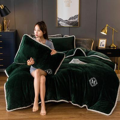2020新款AB版贝贝绒+牛奶绒四件套 1.2m床单款三件套 墨绿