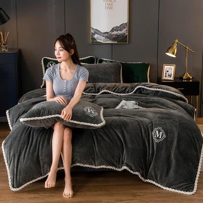 2020新款AB版贝贝绒+牛奶绒四件套 1.2m床单款三件套 深灰