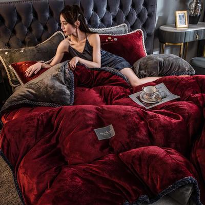 2020新款AB版黑金牛奶绒四件套 1.2m床单款三件套 酒红