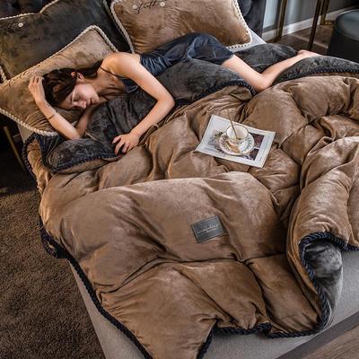 2020新款AB版黑金牛奶绒四件套 1.2m床单款三件套 卡其驼