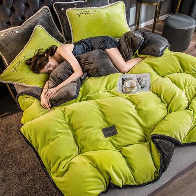 2020新款AB版黑金牛奶绒四件套 1.2m床单款三件套 苹果绿