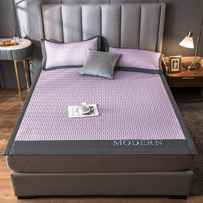 2021新款乳胶凉席刺绣款套件系列 120*200cm三件套 modern-梦幻紫