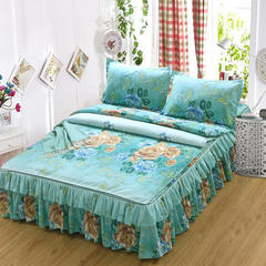 磨毛四件套系列 1.5x2m床 富贵柔情绿色