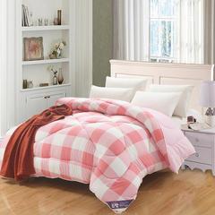 水洗棉亲肤被系列 150x200cm(3斤) 简约风格子桃红