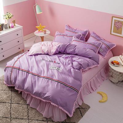 2018INS典藏版爆款全棉四件套(床单款) 1.2m床单款三件套 love-紫粉