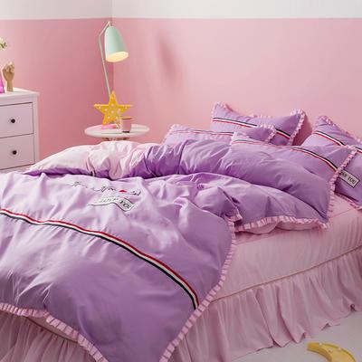 2018INS典藏版爆款全棉四件套(床笠款) 1.2m床笠款三件套 love-紫粉