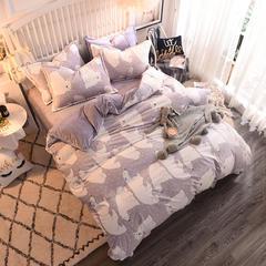 绒世界2018-8D雕花四件套(加厚版) 1.2m(4英尺)床三件套 北极熊