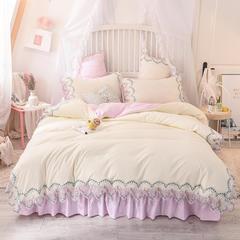 2019新款韩版水洗棉蕾丝四件套 1.2m床(三件套)床单款 玫瑰秘密-粉白