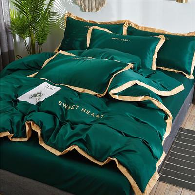 2019新品水洗真丝系列四件套-甜蜜的爱 1.2m床 枕套一只 甜蜜的爱-墨绿