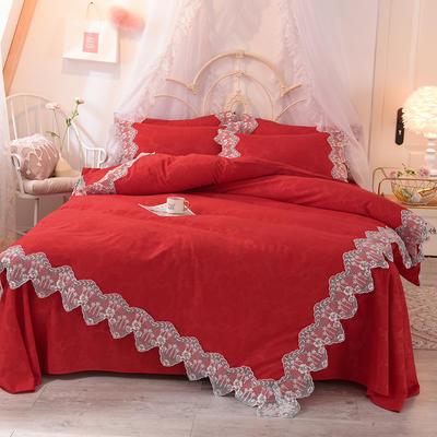 2020新款玫瑰秘密系列四件套-床裙款 1.5m床裙款 玫瑰秘密-大红