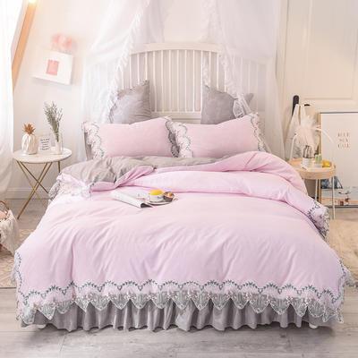 2020新款玫瑰秘密系列四件套-床裙款 1.2m床裙款三件套 玫瑰秘密-粉灰