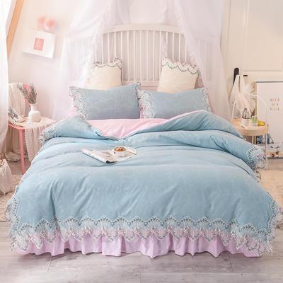 2020新款玫瑰秘密系列四件套-床裙款 1.5m床裙款 慕蓝+粉