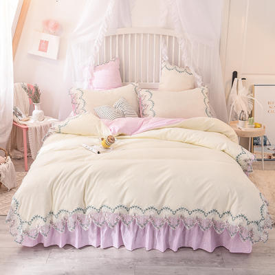 2020新款玫瑰秘密系列四件套-床单款 1.2m床单款三件套 玫瑰秘密-粉白