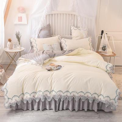 2020新款玫瑰秘密系列四件套-床笠款 1.2m床笠款三件套 玫瑰秘密+白灰
