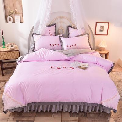 2020新款初春新品挚爱系列四件套-床单款 1.5m床单款 挚爱-粉灰