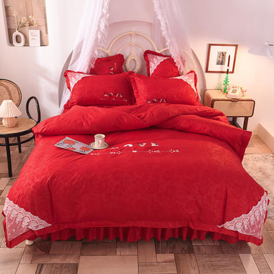 2020新款初春新品挚爱系列四件套-床笠款 1.2m床笠款三件套 挚爱-大红