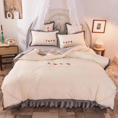 2020新款初春新品挚爱系列四件套-床裙款 1.2m床裙款三件套 挚爱-白灰