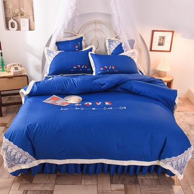 2020新款初春新品挚爱系列四件套-床裙款 1.2m床裙款三件套 挚爱-宝蓝
