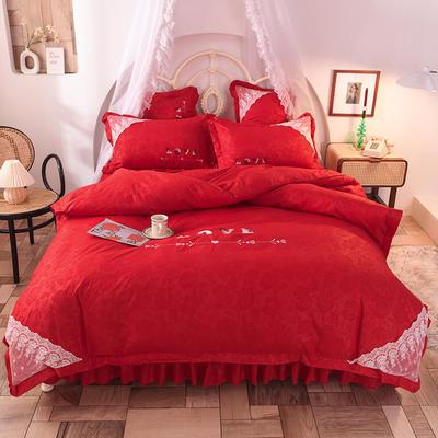 2020新款初春新品挚爱系列四件套-床裙款 1.2m床裙款三件套 挚爱-大红