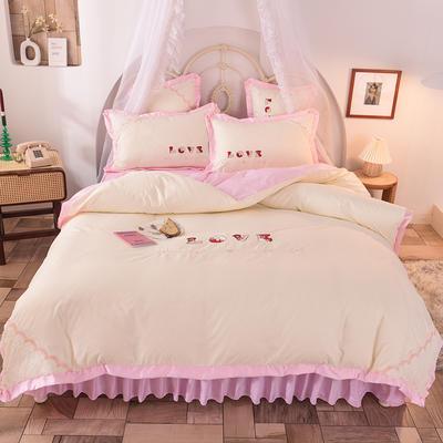 2020新款初春新品挚爱系列四件套-床裙款 1.2m床裙款三件套 挚爱-粉白