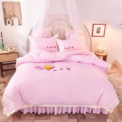 2020新款初春新品挚爱系列四件套-床裙款 1.5m床裙款 挚爱-粉色