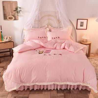 2020新款初春新品挚爱系列四件套-床裙款 1.2m床裙款三件套 挚爱-玉色