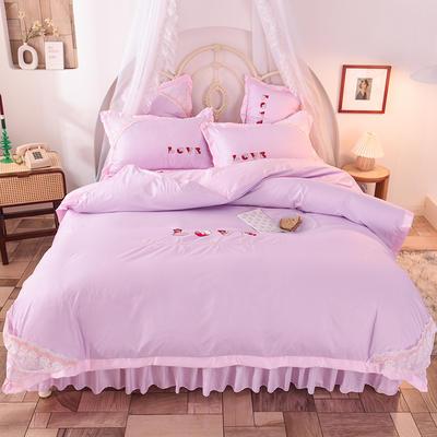 2020新款初春新品挚爱系列四件套-床裙款 1.5m床裙款 挚爱-紫粉