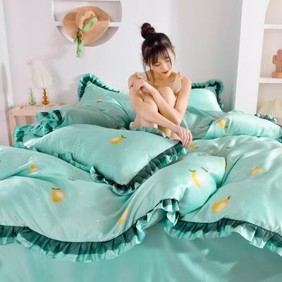 2020新款水洗真丝蕾丝花边款四件套 1.5m床单款 柠檬派对