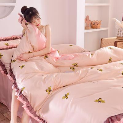 2020新款水洗真丝蕾丝花边款四件套 1.5m床单款 小蜜蜂